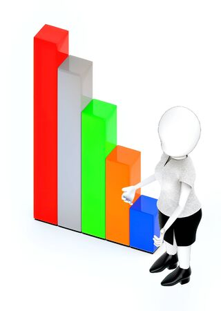 3d rendering white guy standing, hands widened and bar graph Stockfoto