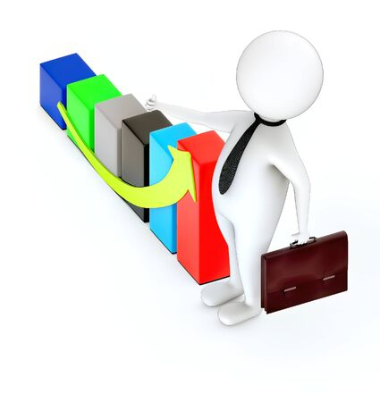 3d rendering white guy standing and hold briefcase showing thumbs up gesture and increasing bar graph