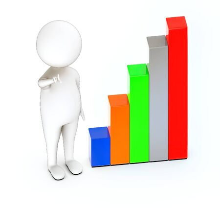 3d rendering white guy pointing hands towards and bar graph