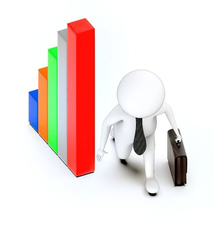 3d rendering white guy business man , sprint pose and bar graph
