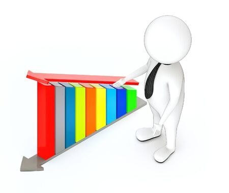 3d rendering white guy standing, hands widened, presenting and increasing bar graph with arrow over it Stockfoto