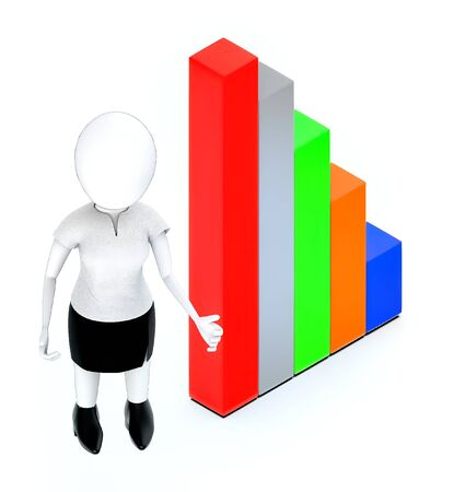 3d white people standing, hands widened and bar graph