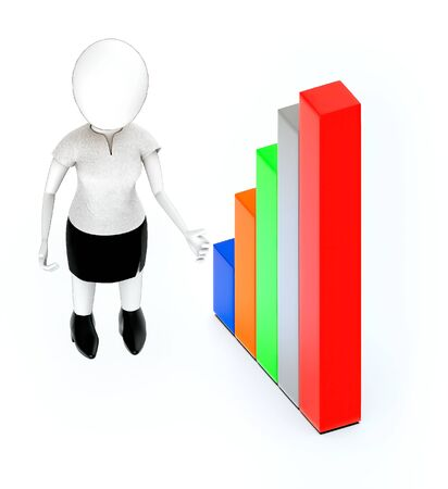 3d white people, standing, hands widened and bar graph Stockfoto