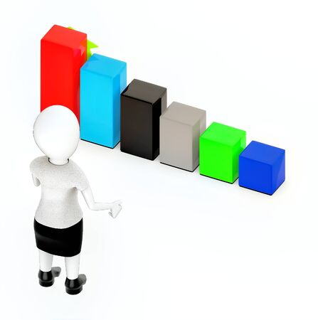 3d white character standing, hands widened and looking at a increasing bar graph