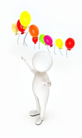 3d white people standing, widened hands and vivid color balloons fly in air