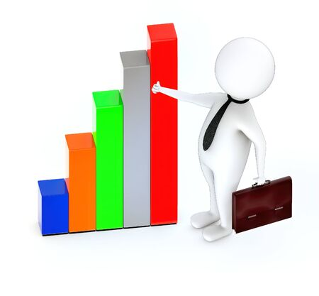 3d rendering white guy standing, hold briefcase showing thumbs up gesture and bar graph Stockfoto