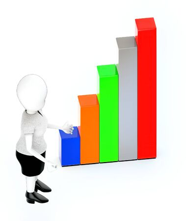 3d rendering white guy standing, hands widened and bar graph Banco de Imagens