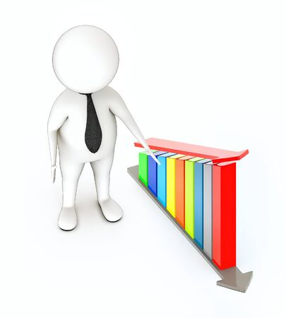 3d rendering white guy standing, hands widened, presenting increasing bar graph with arrow over it Stock Photo
