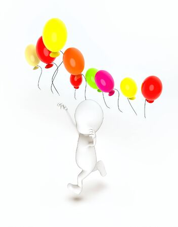 3d rendering white guy running towards and vivid color balloons fly in air Stok Fotoğraf