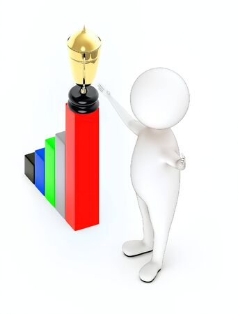 3d rendering white guy stand and hands widened, bar graph and a golden trophy on top of it