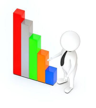 3d rendering white guy standing, hands widened, presenting and bar graph