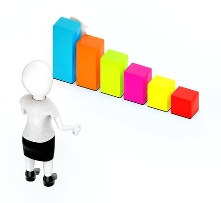 3d rendering white guy standing, hands widened and looking at a increasing bar graph