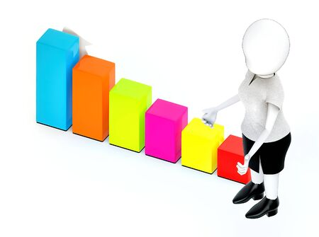 3d rendering white guy standing, hands widened and increasing bar graph