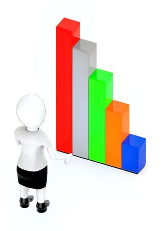 3d rendering white guy standing, hands widened and looking at bar graph