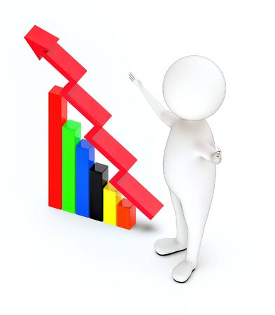 3d rendering white guy standing , widened hands and increasing bar graph with arrow over it