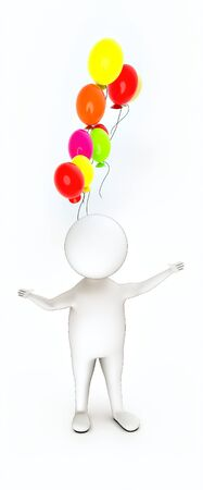 3d rendering white guy standing, widened hands and vivid color balloons fly in air
