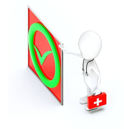 3d white character , doctor with stethoscope and holding a first aid kit -green tick mark - 3d rendering