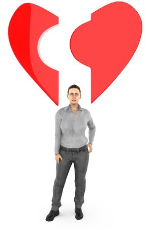 3d character , woman ,and a broken love  heart shape - 3d rendering Фото со стока
