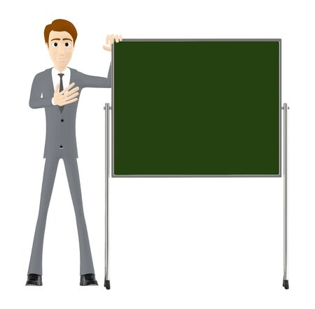 3d character , man and a empty board- 3d rendering