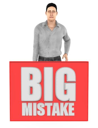 3d character , man sad , worried , crying and a big mistake board - isolated in white background- 3d rendering