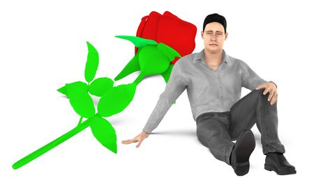 3d character , man , sad , worried sitting near to a flower on the ground - 3d rendering Фото со стока