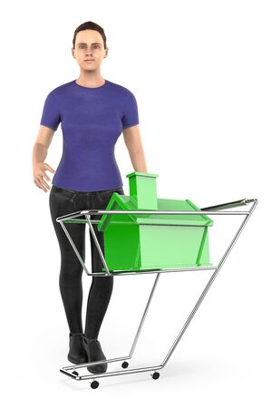 3d character , woman and a trolley  cart with a miniature house in it - 3d rendering 写真素材