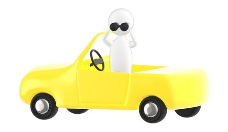 3d character , man looking through binocular while standing inside a car- 3d rendering Stock fotó