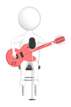 3d character , man playing guitar near to a mic - 3d rendering Stock Photo