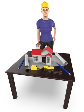 3d character , woman table , miniature house- plan - divider -measuring tape - 3d rendering 写真素材