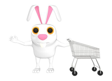3d character , rabbit and trolley - 3d rendering Stock Photo