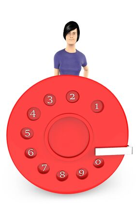 3d character , woman and a dialer - 3d rendering