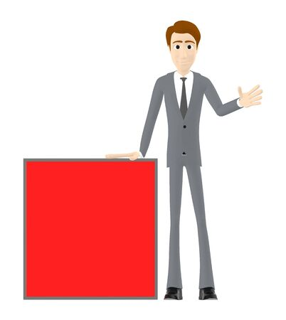 3d character , man and a red empty banner - 3d rendering