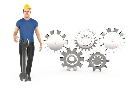 3d character , man worker wearing safety cap and standing near to a different cog wheels - 3d rendering