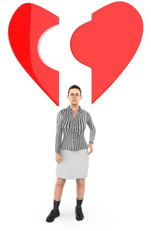 3d character , woman ,and a broken love  heart shape - 3d rendering Фото со стока