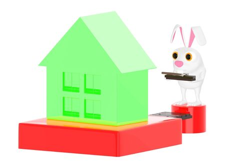 3d character , rabbit with a hammer on the way to a house - 3d rendering 版權商用圖片
