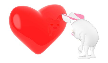 3d character , rabbit looking at a love ,heart shape sign - 3d rendering Фото со стока