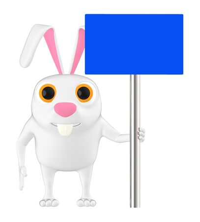 3d character , rabbit holding a empty board - 3d rendering