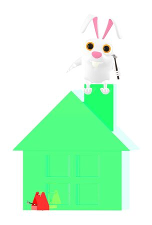 3d character , rabbit , holding a hammer and sitting on house top - 3d rendering 版權商用圖片