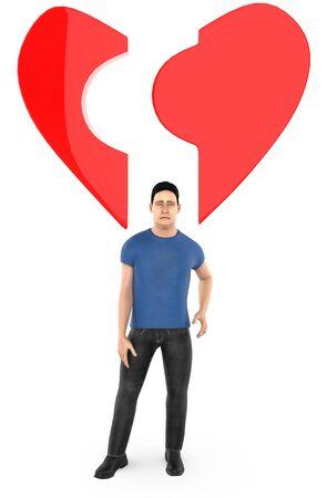 3d character , man ,and a broken love  heart shape - 3d rendering