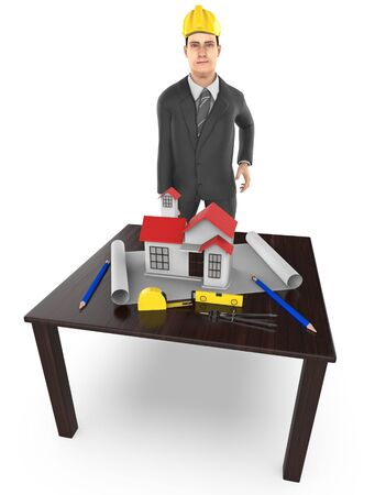 3d character , man table , miniature house- plan - divider -measuring tape - 3d rendering