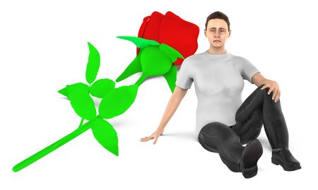 3d character , woman , sad , worried sitting near to a flower on the ground - 3d rendering