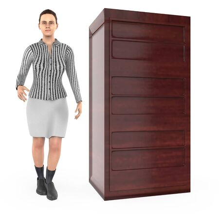3d character , woman and wooden cabinet - 3d rendering Imagens