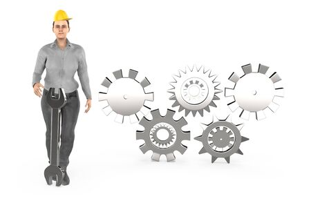 3d character , woman worker wearing safety cap and standing near to a different cog wheels - 3d rendering 版權商用圖片
