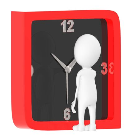 3d character , man moving minute hand in a clock- 3d rendering