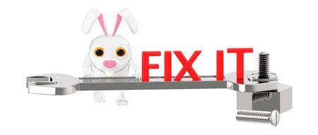 3d character , rabbit fix it , wrench tighting nut - 3d rendering 版權商用圖片