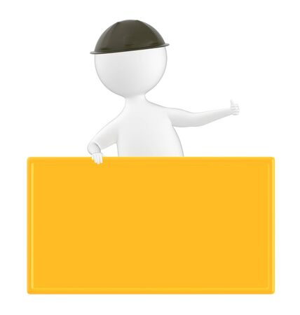 3d character , man and empty board- 3d rendering
