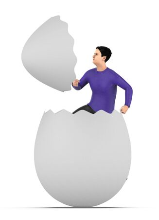 3d character , man out from a cracked egg shell- 3d rendering