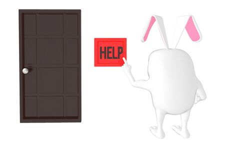 3d character , rabbit pressing help button - 3d rendering