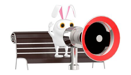 3d character , rabbit on a bench and speaking through a loudspeaker - 3d rendering Фото со стока