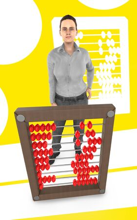 3d character , woman and a abacus - yellow background- 3d rendering Фото со стока